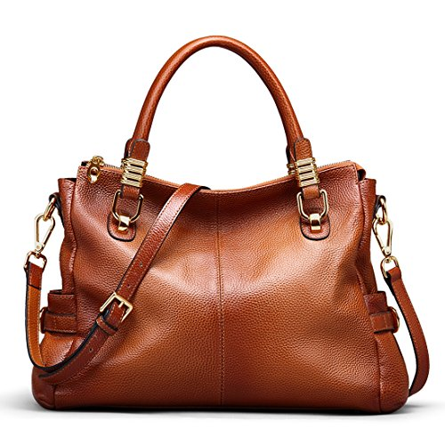 72a3e85498 BIG SALE-AINIMOER Womens Genuine Leather Vintage Tote Shoulder Bag  Top-handle Crossbody Handbags Large Capacity Ladies  Purse