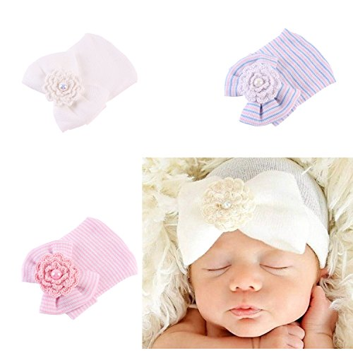 Girls' Baby Clothing Hats & Caps Focusnorm New Fashion Cute Newborn Baby Girls Toddler Hat Striped Hospital Cap Infant Comfy Bowknot Beanie Hats
