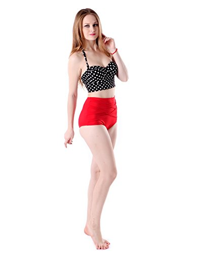 a8ac556f5cc16 HDE Women's Retro Bikini High Waist Vintage Style Swimsuit 50's Pinup  Bathing Suit. This chic two-piece ...