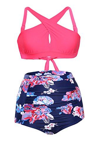 3eedcc66f1 Bdcoco Women's Vintage High Waist Floral Bottoms Front Cross Bikini Swimsuit