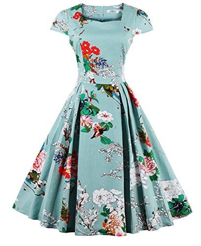 d2ebd39af040 ZAFUL Women 1950s Vintage Floral Cap Sleeve Square-Cut Collar Swing Party  Dress