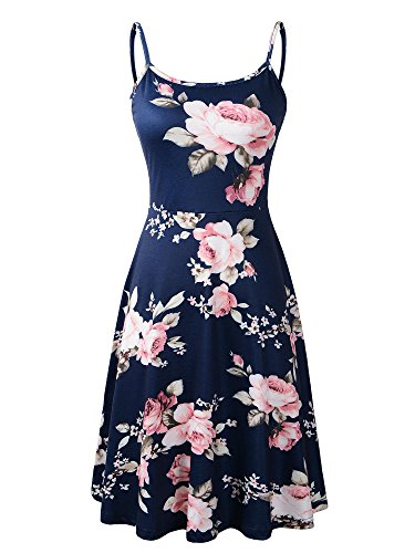 572848a36f851 Herou Women Summer Beach Casual Flared Floral Tank Dress Small