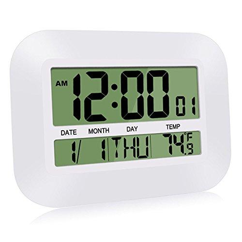 HeQiao Silent Desk Clocks, 12 Inch Digital Wall Clock Battery