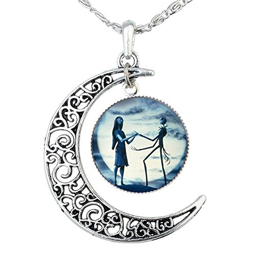 jack skellington necklace pendant gift jack and sally nightmare before christmas blue