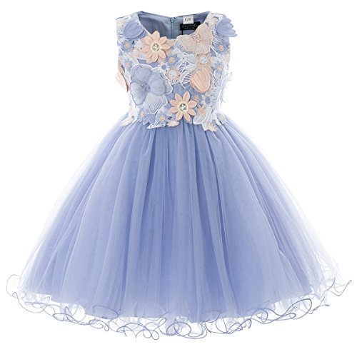 aeb7dc5d2 Children girls princess party wedding dresses. Chiffon, blue/white, flutter  Short Sleeves, ZipperBack, BeltFixed. Great for casual wear, Wedding, ...
