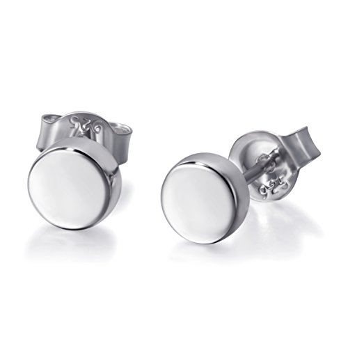 2ff4d8e2d Material: 100% solid 925 sterling silver, rhodium plated. The round studs  are hypoallergenic and nickel free, safe and comfortable for sensitive  skins.
