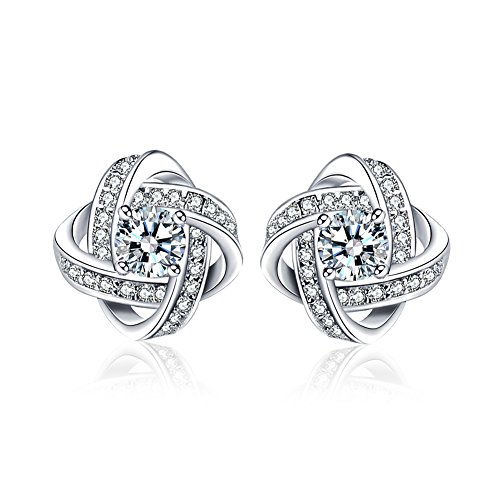 e0096e6e5 LuckySuen 18K White Gold Plated Sterling Silver Cubic Zirconia Stud Earrings  for Women. Buy these earrings for your wife, or best friend, whether it is  for ...