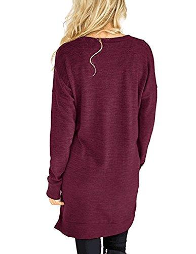 4b630bacd0fbaa Buauty Womens Casual V-Neck Long Sleeves Tunics Dress Blouse Tops with  Pocket