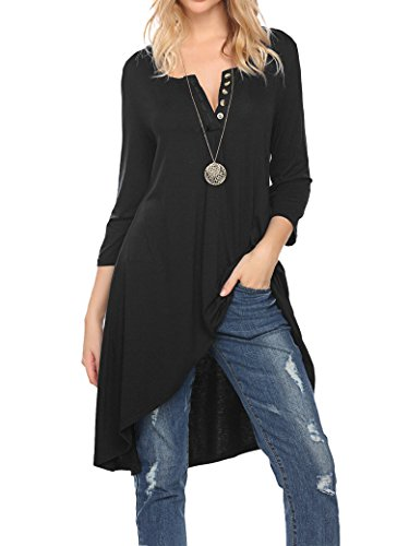dc289f89d60002 Womens loose stripe long sleeve plain oversize curve hem top dress long t-shirt  Blouse Tops. This long top features o-neck