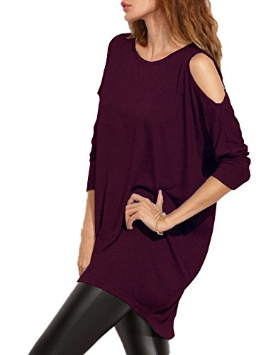 d8b37c0653bb16 Fabric:80%cotton/20%polyester, soft, Comfortable, Casual White Color has a  Little See Through. Women's fall cold shoulder t-shirts, Long Sleeve Loose  Fit ...