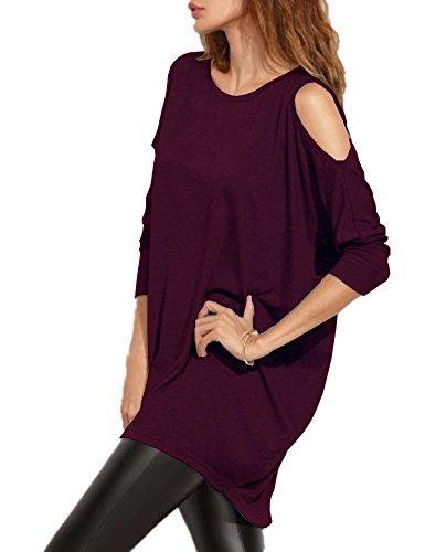 8bd8686e7708c Haola Women s Cold Shoulder Off T-Shirt Dress Loose Fit Long Sleeve Long  Tees L PurpleRed