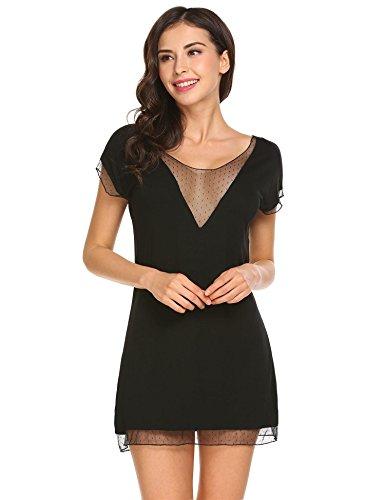 142eae4a99 Ekouaer Women s Soft Sleepwear Sexy V Neck Sleepshirts Lace Trim Short  Nightgown S-XXL