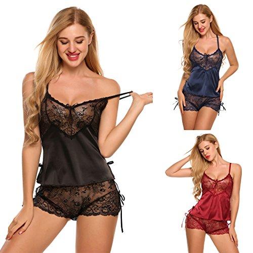 37186454ae Avidlove Women Sexy Lingerie Lace Nightwear Satin Sleepwear Camisole Short  Sets