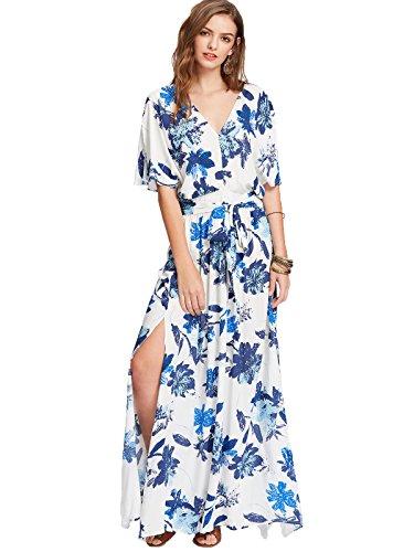 Milumia Women s Boho Split Tie-Waist Vintage Print Maxi Dress Large ... c72759546