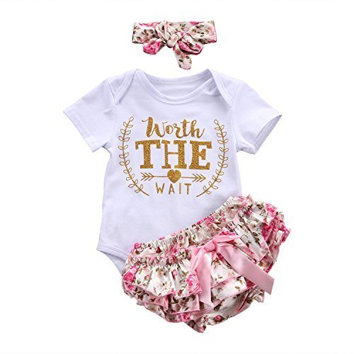 b5cd52cf4 3PCS Newborn Infant Baby Girls Outfit Clothes Romper Jumpsuit Bodysuit +  Pants + Headband Set