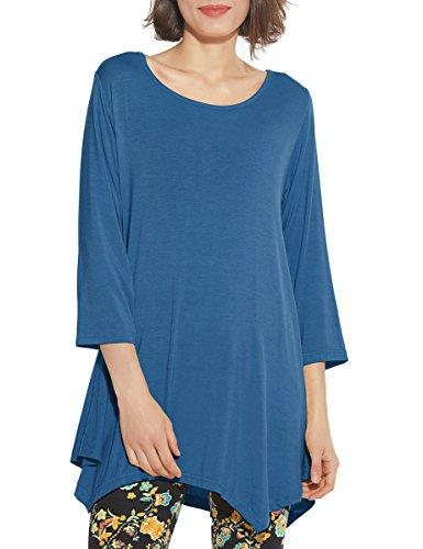 7f697118a7e BELAROI Women 3/4 Sleeve Swing Tunic Tops Plus Size T Shirt 1X, Steel Blue